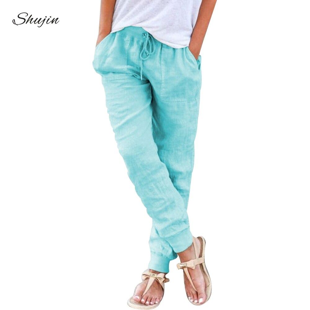 SHUJIN Women Harem   Pants     Wide     Leg     Pants   Female Trousers Casual Spring Summer Loose Cotton Linen Overalls   Pants   Plus Size