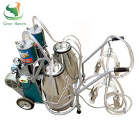Double Buckets Piston Pump Milking Machine for Cow, Goat, Portable Milking Machine