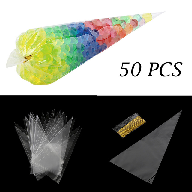 50pcs/lot DIY Wedding Birthday Party Sweet Cellophane Clear Candy Cone Storage Bags Cheap Organza Pouches Decoration