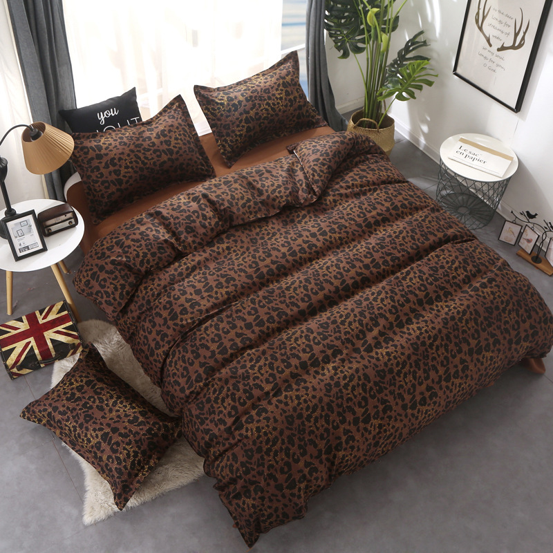 Leopard Brown 4pcs Bedding Set Twin Queen King Size Double Duvet Cover Flat Bed Sheets Pillow Cover Kids Bed Linen for Children
