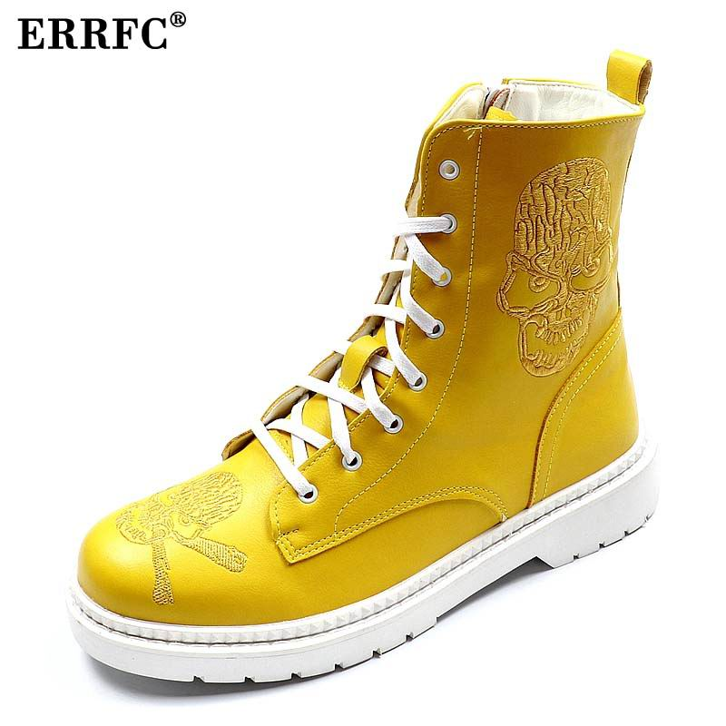 ERRFC Fall winter new men Ankle boots Fashion Forward Skull Charm high top Casual Shoes Man