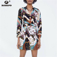 ROHOPO Long Sleeve Autumn Printed Floral Dress Belted Tunic Top Button Fly Pleated Female Patchwork British Dresses #OYK8722
