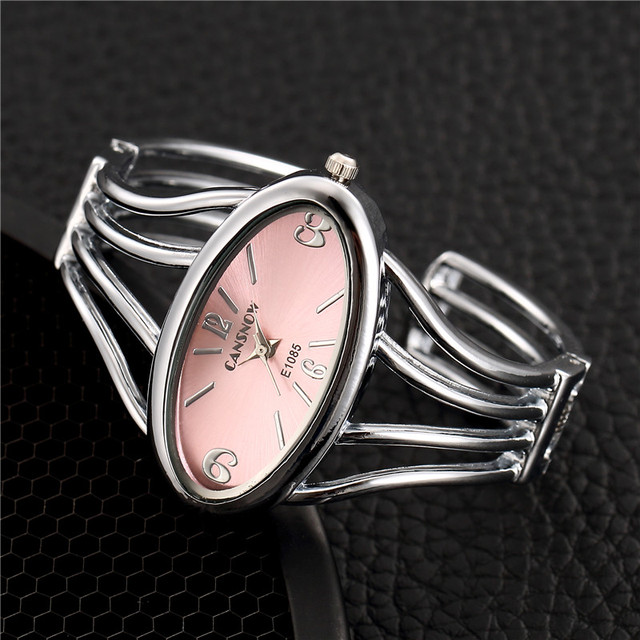 Creative Silver Stainless Steel Bangle Watches Women Fashion Bracelet Watch Ladi