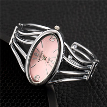 Creative Silver Stainless Steel Bangle Watches Women Fashion