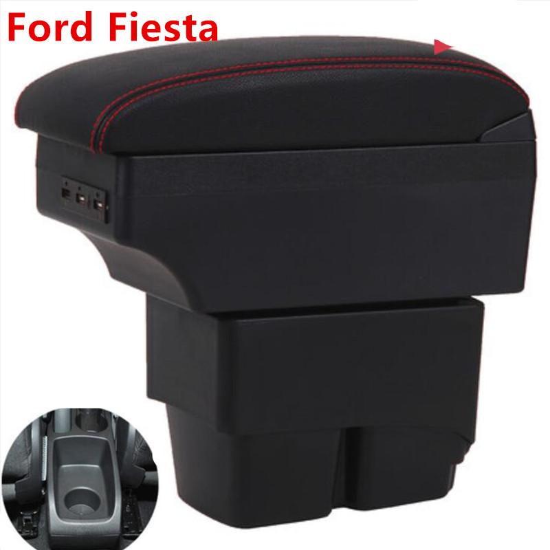 For Ford Fiesta Armrest Box Fiesta MK6 7 Universal Car Central Armrest Storage Box modification accessories