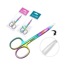 Colorful Eyebrow Scissors Chameleon Rainbow Color Curved Head Eyelash Manicure Beard Cutter Nail Multifunction Makeup Tool