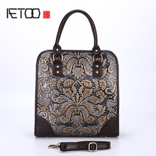 AETOO Die neue retro leder handtasche schultertasche reiben farbe geprägte handwerk handtaschen tragbaren aktentasche