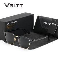 VGLTT Men Sunglasses Mirror Brand Designer Polarized Rayed Sun Glasses Cat Eye Women UV400 Male Rivet
