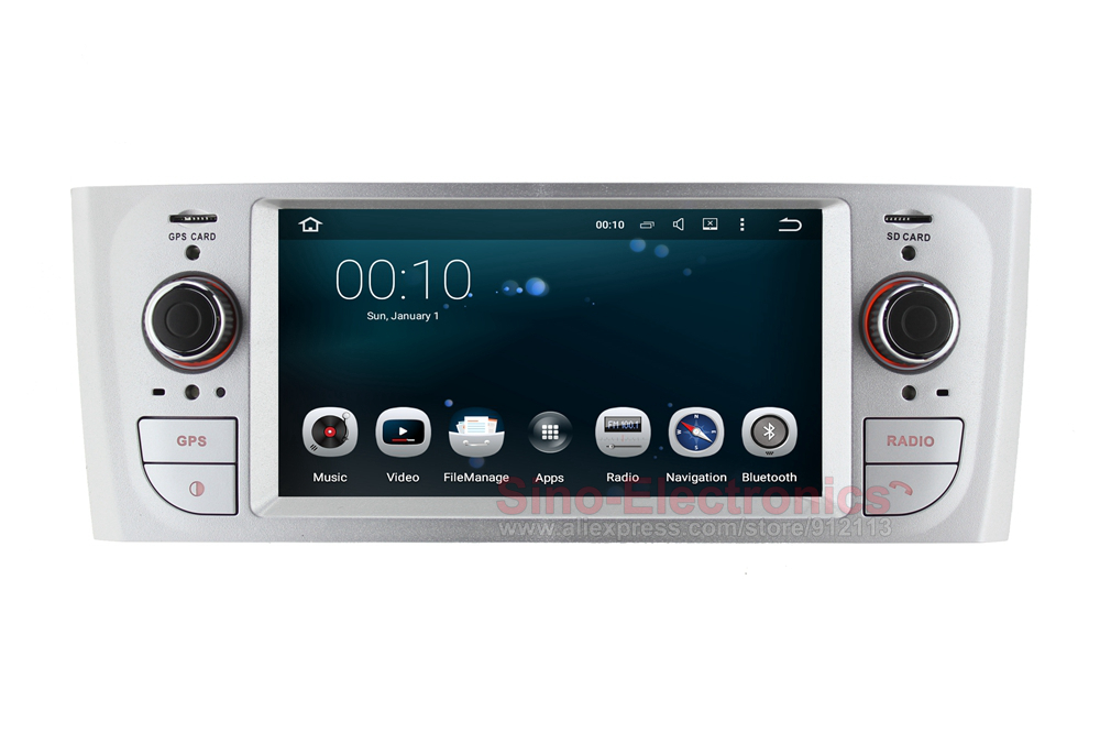 silver quad core android 5 1 autoradio gps for fiat grandeo punto linea with radio rds bt wifi. Black Bedroom Furniture Sets. Home Design Ideas