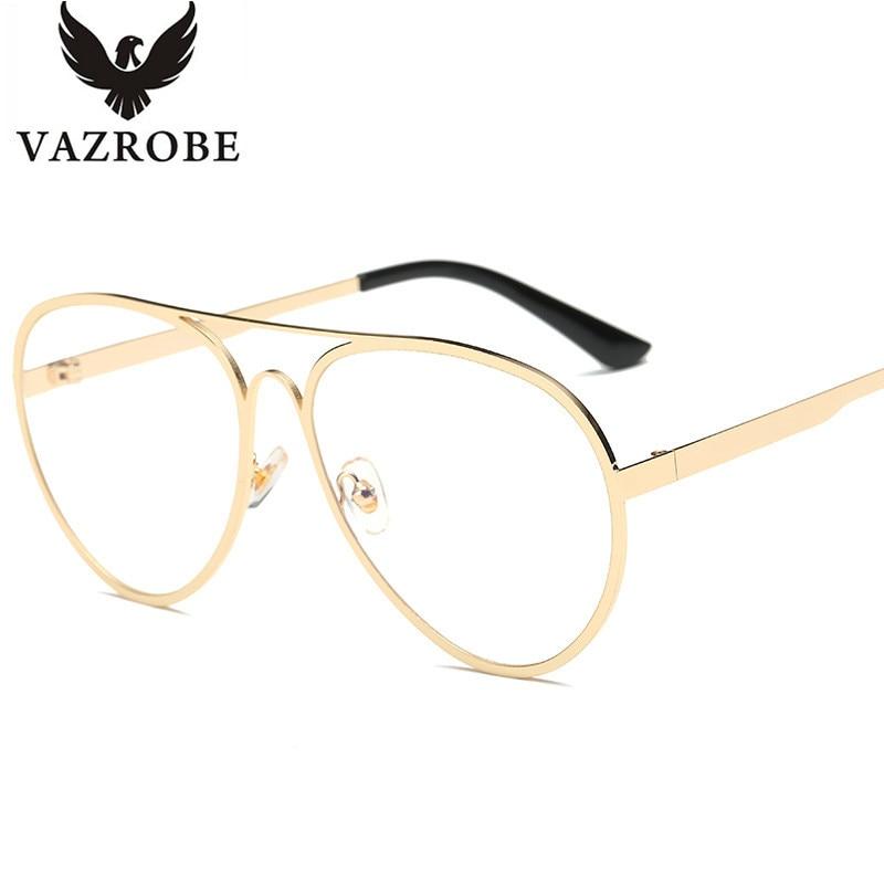 VAZROBE Oversized Aviation Gold Glasses Women Eyeglasses frames woman Glasses with Clear Lenses Spectacles Female nerd Points