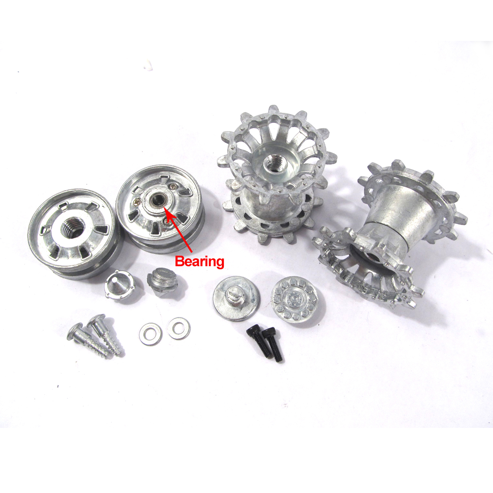 Mato RC tank metal parts 1/16 Challenger II metal sprockets and idler wheels with bearings