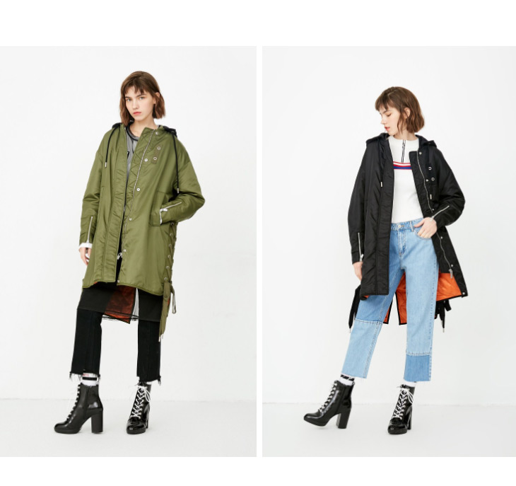 ONLY Women's Lace-up Hooded Cotton Coat |118122502 6