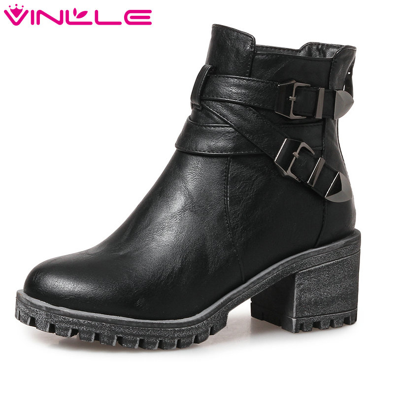 VINLLE 2018 Women Shoes Buckle Winter Ankle Boots PU leather Round Toe Square High Heel Ladies Motorcycle Shoes Size 34-43 vinlle 2018 women ankle boots shoes buckle autumn winter square high heel pointed toe zipper ladies motorcycle shoes size 34 42
