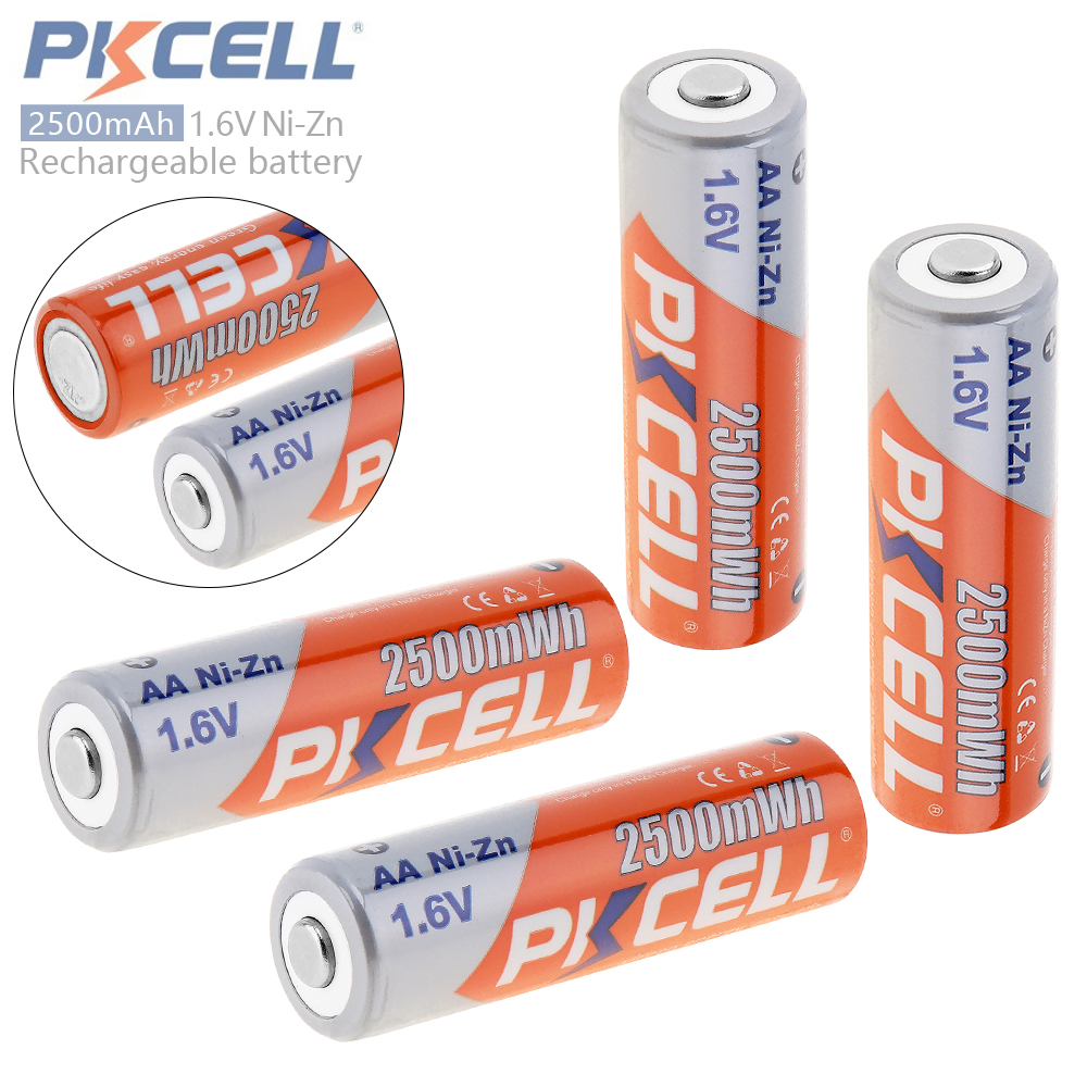 4pcs PKCELL 2500mWh 1.6V Ni-Zn AA Rechargeable Battery NiZn AA Battery with Over-current Protection for Toys Digital Camera MP4 free shipping 4pcs aa nizn 1 6v 2500mwh high voltage rechargeable battery hot sale 3 5 hour fast charger