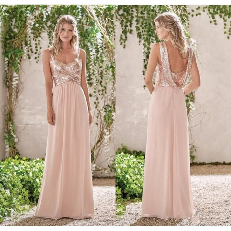 Buy 2017 new rose gold bridesmaid dresses for Pink and gold wedding dress