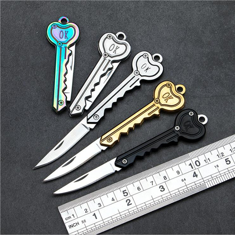 Mini Key Knife Tactical Camp Outdoor Keyring Ring Keychain Fold Open Opener Pocket Self Defense Security Multi Tool Blade Box