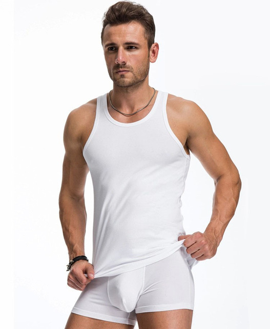 [EXILIENS] Undershirt Men Underwear Brand Sexy Shape Undershirts Bodysuit Tank Tops Cotton Fitness Male Shirts Size Plus t1287