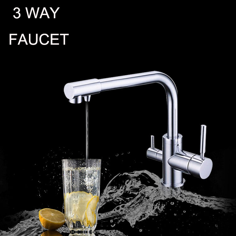 Kitchen faucet mixer 3 In One Faucet Delivers Ro Filtered Water Hot/Cold Water 3 Way Filter Tap 2017 special offer real dual holder single hole torneira cozinha filtered water hot cold water tap 3 way sink faucet kitchen