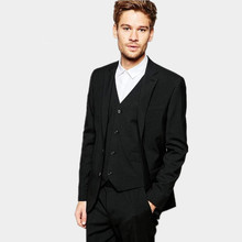 Tailor made men suits black stylish handsome wedding suits tuxedos single  business work suits(jacket+vest+pants)