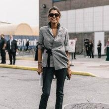 Брендовое клетчатое пальто для женщин на шнуровке, Свободная Повседневная модная Высококачественная верхняя одежда на осень и зиму