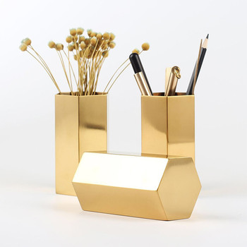 INS Nordic sześciokątne ze stali nierdzewnej złoty wazon nowoczesny moda metalowy wazon pokój badania korytarz dekoracji ślubnej domu tanie i dobre opinie Amerykański styl Z tworzywa sztucznego Blat wazon H53076 OUSSIRRO