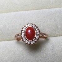 Fine Antique 5*7mm Oval Cut Joyería de Coral Rojo de la Piedra Preciosa de Plata de Ley 925 Anillo de Montaje Semi Ajustes Haleigha Femme Bague Anillos