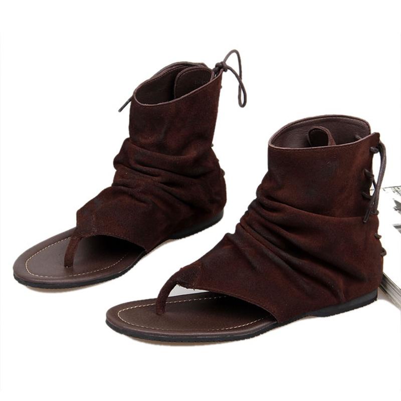 Vintage Cuoio Genuino degli uomini di Stile Romano T strap Infradito Sandali Gladiatore Lace Up Sandali Estivi-in Sandali da uomo da Scarpe su  Gruppo 2