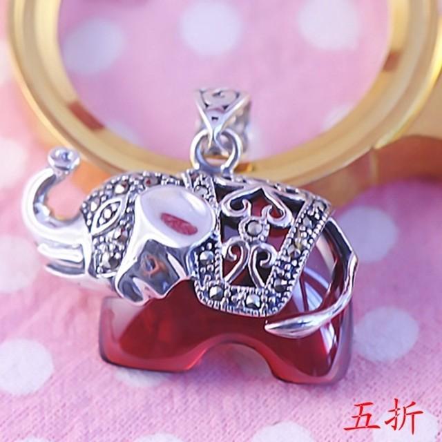 925 pure silver pendants green agate elephant pendant red crystal pendant