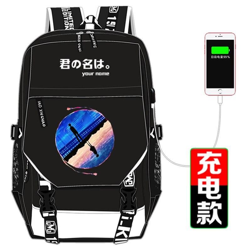 Japonais amour Anime votre nom impression sac à dos toile sacs d'école pour adolescentes Kawaii femmes sac à dos Mochila Feminina