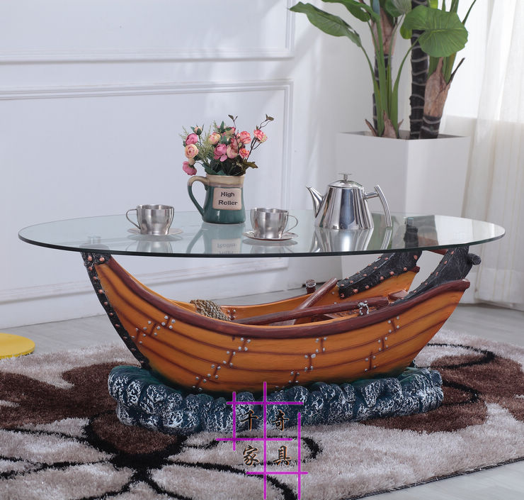 Ship small family style tea table. Oval round tea table. Contracted character of tea table. ship