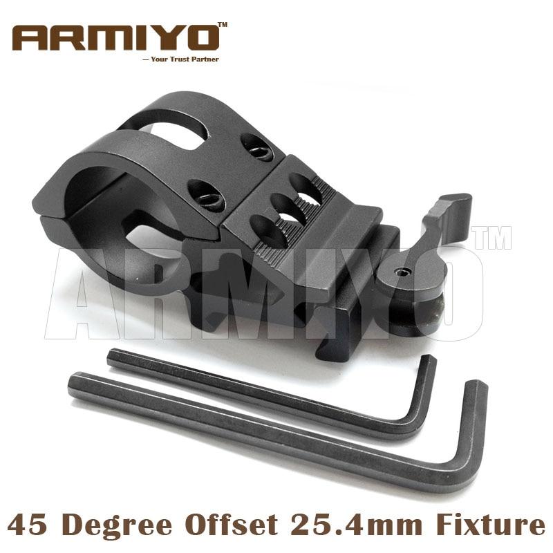 Armiyo 25.4mm Ring 45 Degree Offset Quick Install Detach Laser Sight Rifle Scope Clip 20mm Rail Mount Rack Shooting Accessories