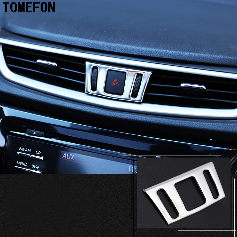 TOMEFON For Nissan X-Trail Xtrail X Trail T32 2013+ Qashqai J11 2014+ Murano Stainsteel Center Console Air Vent Outlet Cover