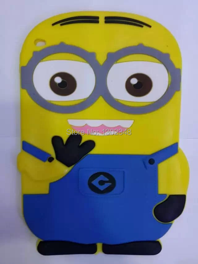 New 3D Cute Cartoon Despicable Me 2 Yellow Minion Soft Silicone Rubber Shell Cover Tablet Case For Apple ipad air 2 ipad 6