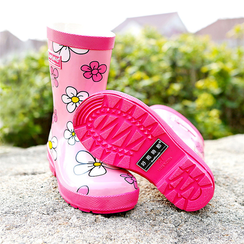 Lace Flowers Childrens Shoes for Girls Kids Female Waterproof Rubber Boots 2018 Spring and Autumn Cute Environmental Rainshoes ...