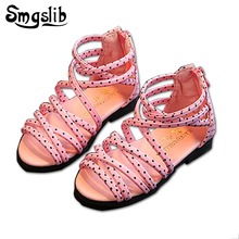 Smgslib Children Summer Baby Girls Flat Heels Sandals Lace-up Shoes For Stage Dancing Show