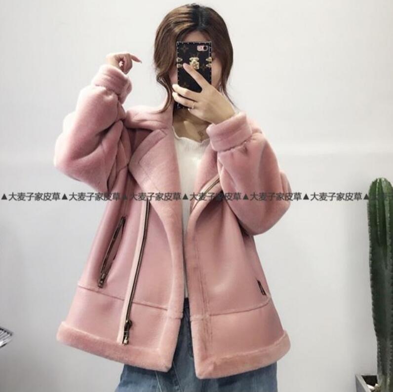 Manteau navy Nouvelles Laine Lâche Court Blue R383 Mode Vêtements Femmes D'hiver Pink À Green Moto 2018 De Des Imitation Une Tonte Moutons Fourrure black army gdTcq
