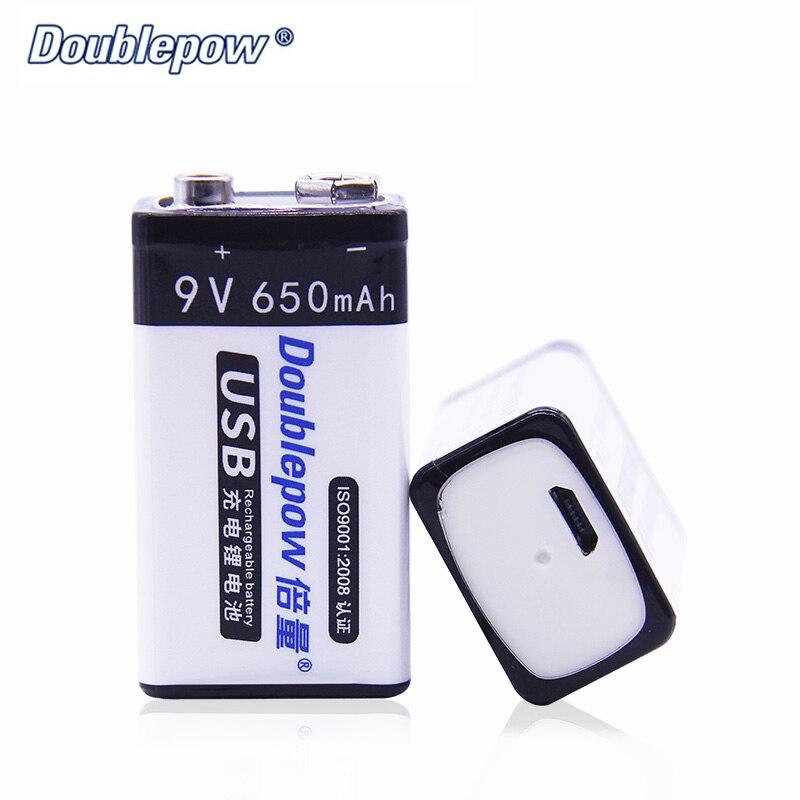 9 V Rechargeable Batterie 650 mAh Ni-MH USB Doublepow Carré Batterie 9 V Pièces VS PKCELL 9 V Batterie Mieux que Sec Batterie D037