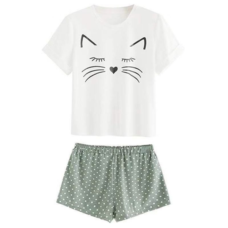 Women Girls Summer Short Sleeves   Pajamas     Set   Cute Meow Cat Loose T-Shirt Tops Polka Dot Ruffles Shorts Sleepwear Home Loungewear