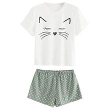 Women Girls Summer Short Sleeves Pajamas Set Cute Meow Cat L