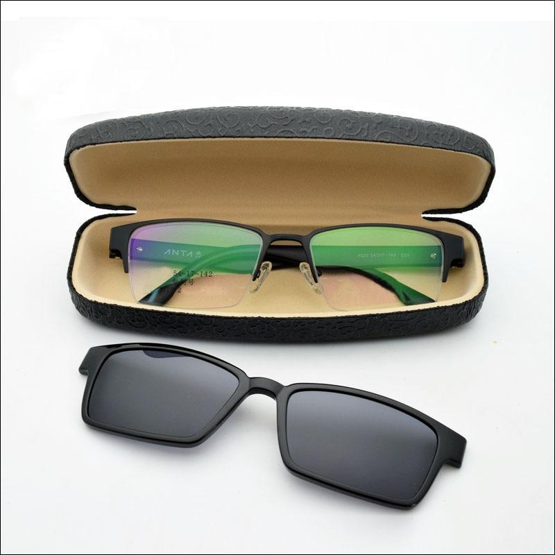 Half Box Frames uv Protection Black Glasses Male Magnet Mirror Polarized Clip Glasses Frame Box Sunglasses Myopia Sunglasses