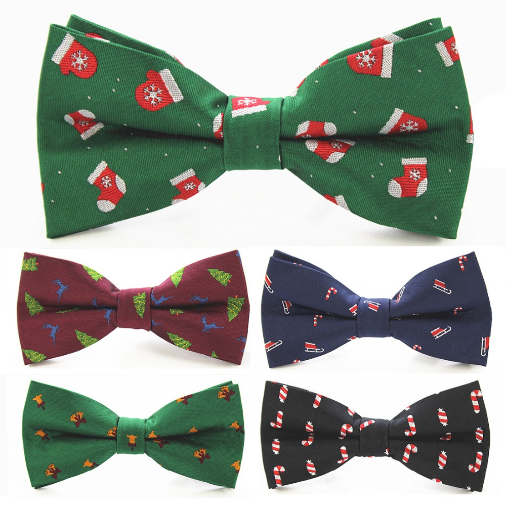 RBOCOTT New Christmas Bow Tie Mens Green Christmas Tree Bowtie Black Bow Ties For Men Wedding Accessories Christmas Gifts