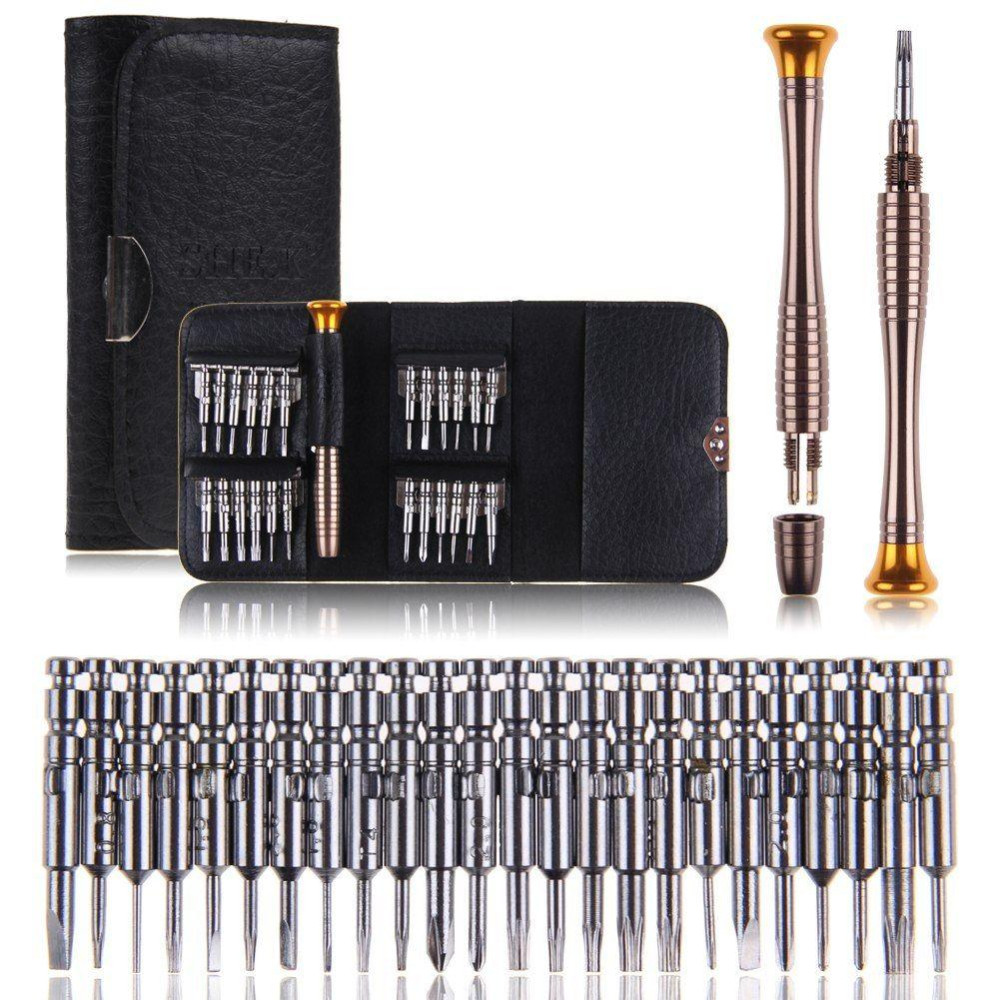 25 in 1 Screwdriver Set Repair Hand Tool Kit For iPhone 5 5S 6 Cellphone Tablet PC Glasses Watch Portable Wallet Packing