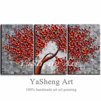 Handmade 3 Piece Oil Paintings On Canvas 3D Red Flowers Paintings Modern Home Decor Abstract Artwork Pictures Canvas Wall Art