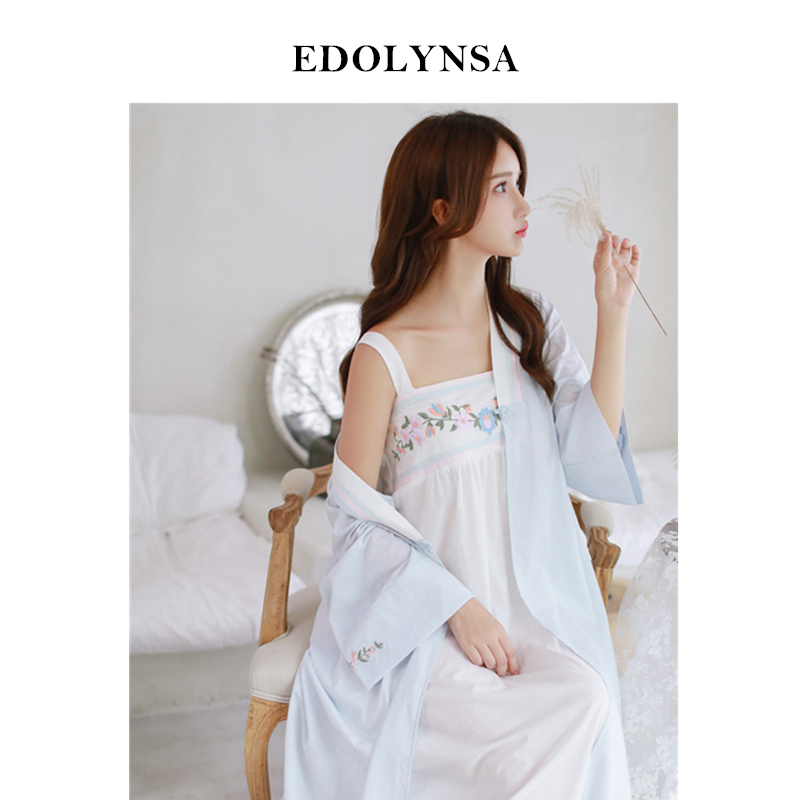 Robe Gown Set Front Open Pink Kimono Strap Sleeveless Embroidery Night Dress Plus Size Nightgown Peignoir