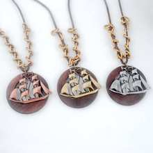 Antique Vintage Long Rope Chain Necklace Wooden Alloy sailing ship Pendants Neckless Cord Men Jewelry Accessories Free Shipping