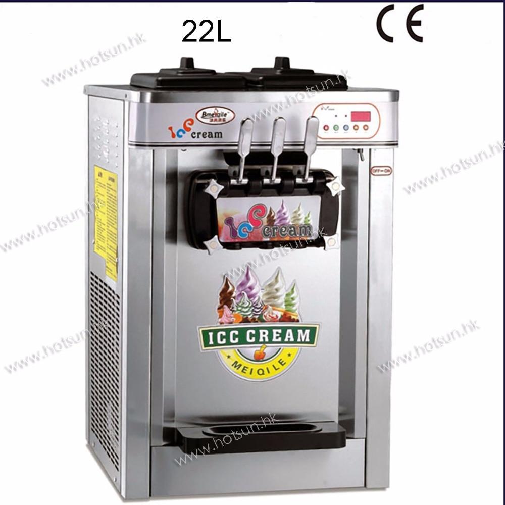 22L Stainless Steel Countertop 220V Electric 3 Flavor Frozen Yogurt Soft Ice Cream Maker Machine