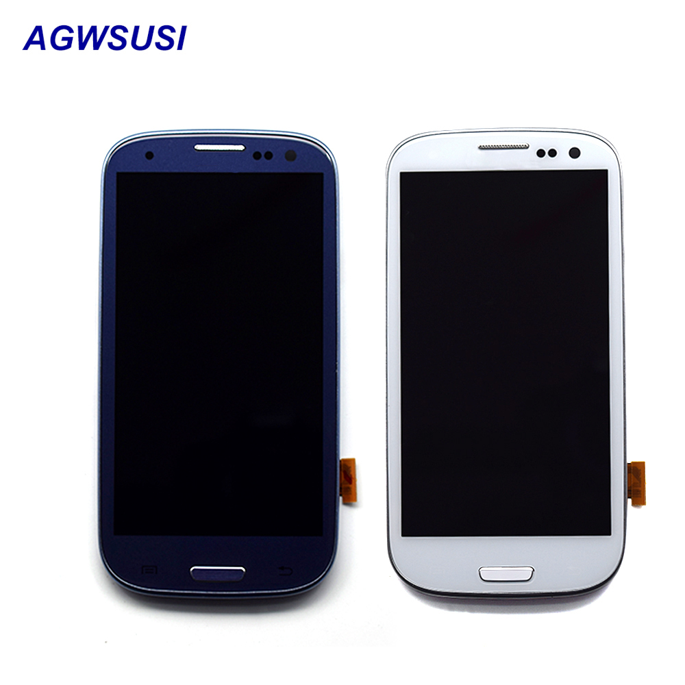 Für Samsung Galaxy S III S3 i9300 i9301 i9305 i535 i747 9300I LCD Display Panel + Touchscreen Digitizer Sensor montage Rahmen