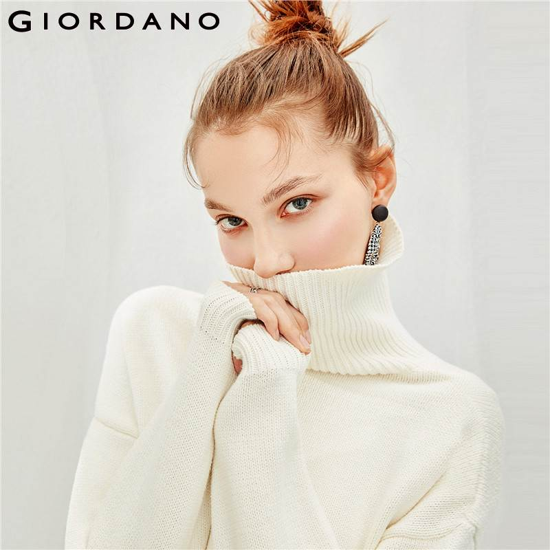 Giordano Women Sweater Women Thick 7 needle Knitting Winter Sweater Women Loose Turtleneck Sweater Comfortable High