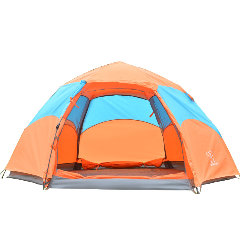 Outdoor Camping Tent 5-8 Peraon Double Hexagonal Waterproof Automatic Spring Tent Beach Tent Anti-UV Sun Shade Tent CK109G