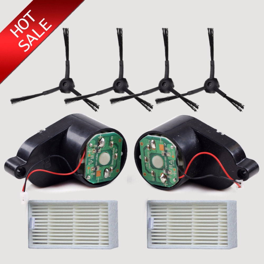 l+r +side Brush*4+hepa Filter*2 For Panda X500 Ecovacs Cr120 Cen546 Vacuum Cleaner Brush Motor Harmonious Colors 8pcs/lot Side Brushes Motors *2